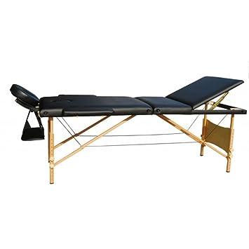 table de massage massage reiki pliante pliable portable en bois 3 3 zones noire housse de. Black Bedroom Furniture Sets. Home Design Ideas