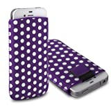 CNL PURPLE / WHITE POLKA DOT DESIGN LEATHER PULL-UP POUCH COVER CASE SLEEVE FOR THE HTC ONE X / X+ MOBILE PHONE