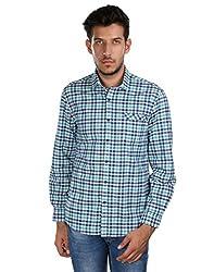 Oxemberg Men's Checkered Casual 100% Cotton Green Shirt
