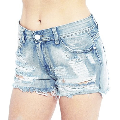 Women's Juniors Distressed Cut Off Ripped Jean Shorts High Waisted Denim Shorts (L, Wash Blue) Wash Denim Cut Off Shorts