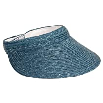 Dorfman Pacific Royal Blue Straw Braid Sun Visor