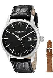 Stuhrling Original Men's 555A.01 Classic Ascot II Swiss Quartz Date Black Leather Strap Watch with Interchangeable Tan Leather Strap