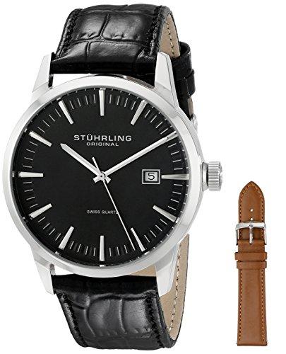 Stuhrling Original Mens 555A.01 Classic Ascot II  Swiss Quartz Date Black Dial Strap Set Watch