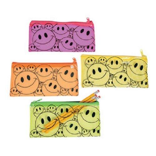 Fun Express Vinyl Smile Face Pencil Pouch Case Party Favor Set (Lot of 12)