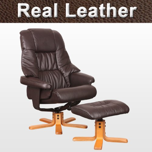 Sorento Real Leather Brown Swivel Recliner Armchair Chair