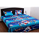 Renown Doraemon Kids Design 100% Cotton Double Bedsheet With 2 Pillow Cover ( Pack Of 1 )