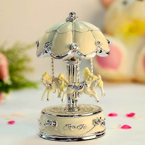 LIWUYOU Luxury Large Size Color Change LED Light Luminous Rotating Carousel Horse Musical Box With Music of Castle in the Sky Color Beige 0