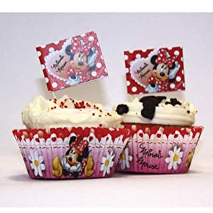 Amscan Disney Minnie Mouse 48-Piece Cup Cake Kit, Red
