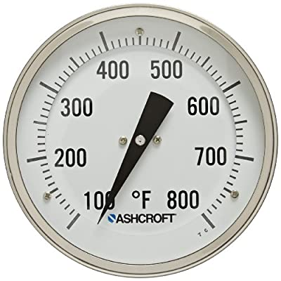 """Ashcroft Series EI Stainless Steel Case Bimetal Thermometers, 5"""" Dial Size, 1/2"""" NPT Rear Connection, 12"""" Stem Length, 100/800 Degrees Fahrenheit"""