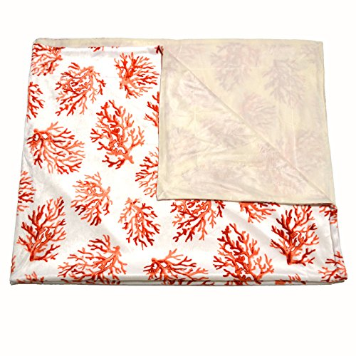 Coral Print Microplush Blanket 50 X 60 Thro By Marlo Lorenz (Coral Spice) - 1