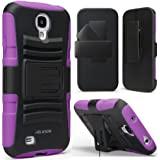 i-Blason Prime Series for Samsung Galaxy S4 Active i9295 Water Resistant Dual Layer Holster Case with Kickstand and Locking Belt Swivel Clip (Purple)