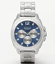 Coach Women Watch 14501442 Boyfriend Style Silver Bracelet Blue Dial