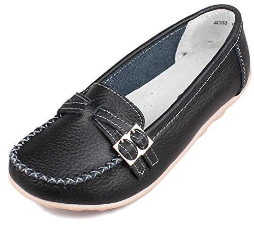 PhiFA Women's Genuine Leather Loafers Flats Moccasins Slip-Ons US Size 7 Black