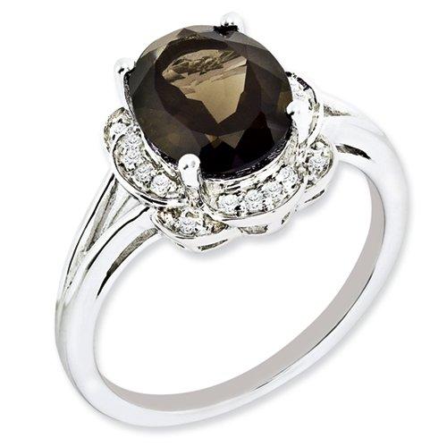Sterling Silver Diamond & Smokey Quartz Ring