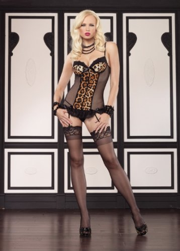 2PC.Padded underwire fishnet garter dress and g-string