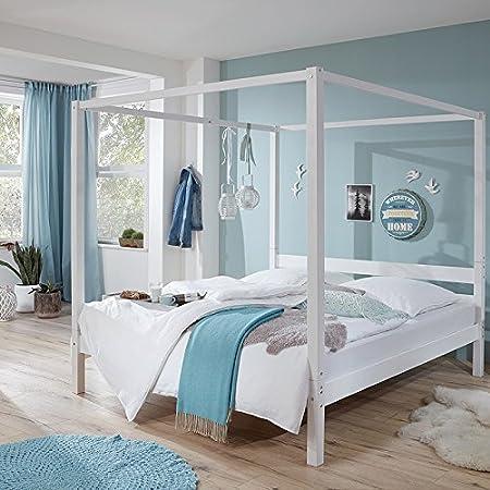 Himmelbett massiv weiß lackiert ● Liegefläche 140x200cm ● Jugendbett Gästebett Einzelbett