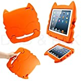 DELED Light Weight Shock Proof Super Protezione Bambini Sicurezza Cabrio Freestanding Maneggiare Regali Custodia Cover Tablet Buon Natale Custodie Kiddie divertenti per Apple iPad Air / iPad 5 - Arancione