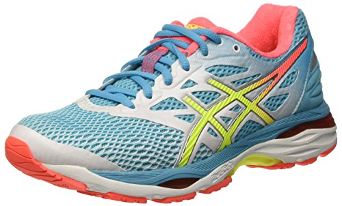 Asics Gel-Cumulus 18 - Scarpe Running Donna, Multicolore (White/Safety Yellow/Blue Atoll), 39.5