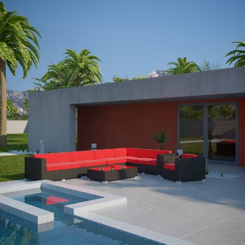 LexMod Palm Springs 7-Piece Outdoor Rattan, Espresso with Red Cushions