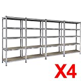 Popamazing 1/2/3/4/5 Pieces 5-Tier MDF Boltless Rubber Feet Storage Shelfs Industrial Metal Shelving Warehouse Storage Racking--Massive 875Kg Capacity (Set of 4)