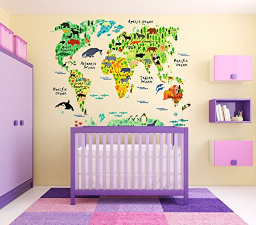 Eveshine animal world map wall decals stickers for bedroom living home gumiabroncs Images