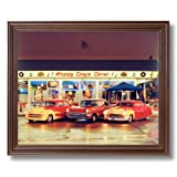 Vintage Chevy Automobile Cars At Happy Dayz Cafe Diner Wall Picture Cherry Framed Art Print