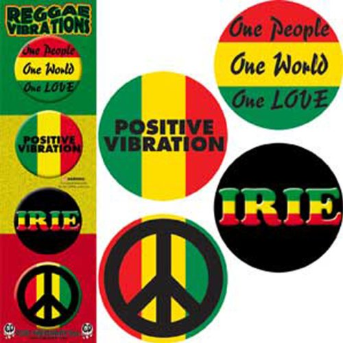 "Licenses Products Reggae and Rasta Assorted Artworks 1.25"" Button Set, 4-Piece"