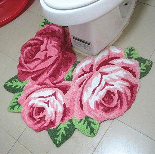 Ustide 3 Rose Shaped Rug Handmde Rug Bathroom Mat Modern Carpet Pink Rose Rug Non-Slip Floor Mat Small