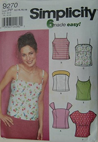 Simplicity 6 Made Easy! 9270 Sewing Pattern Misses Tops- Size Dd 4-6-8-10