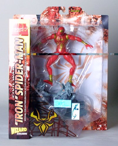 Buy Low Price Wizard Entertainment ToyFare Exclusive Civil War 'Iron' Spider-Man Action Figure Dual Signed by Joe Quesada & Steve McNiven (B000QDTQF6)