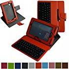 Mama Mouth Rotary Stand PU Leather Case Cover With Removable Micro USB Keyboard for 7 Verizon Ellipsis 7 4g LTE (QMV7A) Android Tablet Orange