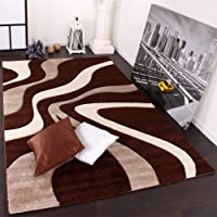 Designer Carpet With Contour Cut And A Wave Pattern In Brown Beige And Cream, Size:60x110 cm by PHC