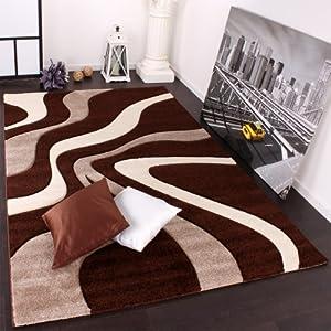 Designer Rug with Contour Cut Waves Pattern Brown Beige Cream by PHC