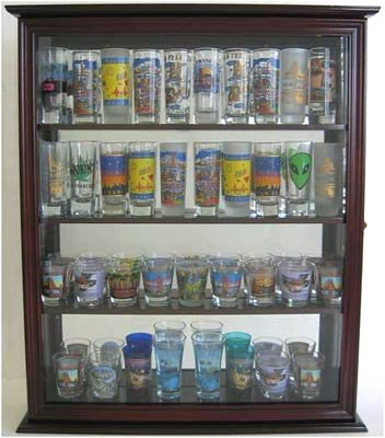 Tall Shooter / Hard Rock Souvenir Shot Glass Shooter Display Case, with glass door, Mirror Back, Mahogany Finish (SC10-MA) (Rock Display Glass compare prices)