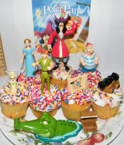 Disney Peter Pan Deluxe Figure Cake Toppers / Cupcake Decorations Set of 9 with Captain Hook, Treasure Chest, Tinkerbell, Crocodile and More!
