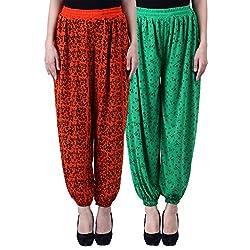NumBrave Printed Viscose Orange & Green Harem Pants (Pack of 2)