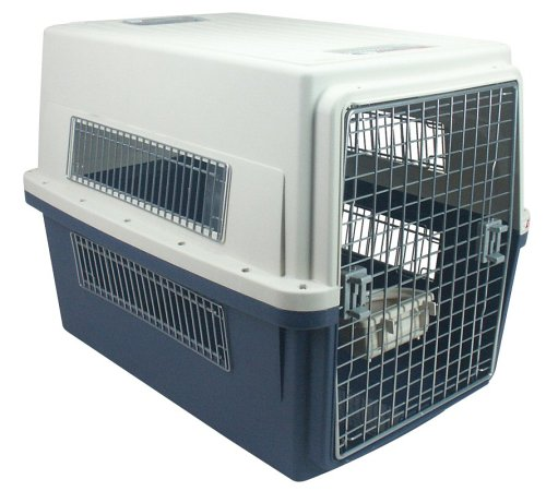 IRIS Puppy or Dog Airline Travel Carrier Cage, 65 Pounds, Blue