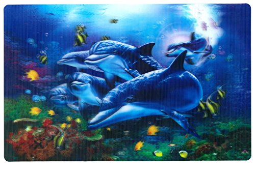 3D Table Placemats - DOLPHINS Playing in The Sea - (Qty 4) - FUN FOR KIDS Meals, Parties, Free TABLE PLACE SETTING GUIDE included