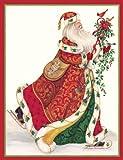 "Caspari Christmas Cards ""Elegant Santa"" Design, Box of 20 Cards with Envelopes"