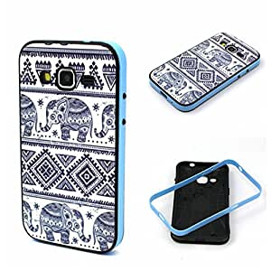Samsung Galaxy Prevail LTE Case, Wandeneng Hybrid Fancy Colorful Pattern Hard Soft Silicone Bumper Case Fit for Samsung Galaxy Core Prime G360 (Elephant)