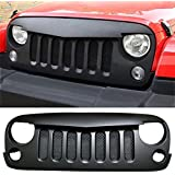 Opar Front Matt Black Angry Birds Grille Grid Grill with Mesh inserts Fit 07-16 Jeep Wrangler 2/4 Door