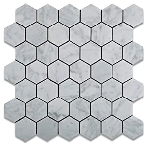 "2""x2"" White Carrara (Carrera) Hexagon Marble Honed Mosaic Tiles"