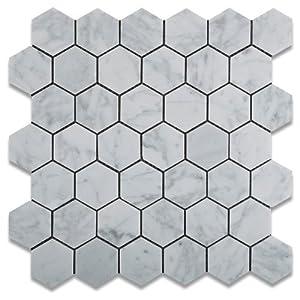 """2""""x2"""" White Carrara (Carrera) Hexagon Marble Honed Mosaic Tiles"""