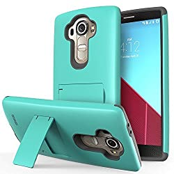 LG G4 Case - VENA Legacy [Dual Layer Protection  Shock Absorption] Heavy Duty Cover with Kickstand [+1 HD Clear Screen Protector] for LG G4 2015 (Compatible With Leather LG G4) (Teal & Gray)