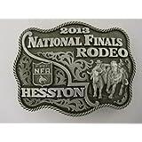 2013 HESSTON NATIONAL FINALS RODEO BELT BUCKLE *** HESSTON WRANGLER NFR -- Large Adult Buckle -- Steer Wrestling / Bulldogging