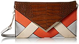 Nine West Collection Clutchescressida Foldover, Tobacco/Rustic Orange Cobble Stone/Toasted Oat, One Size