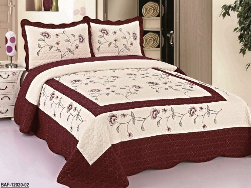 Discover Bargain 3pc Beige / Burgundy High Quality Fully Quilted Embroidery Bedspread Bed Coverlets ...