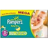 Pampers Baby Dry (Midi +) Nappies Mega Box - Size 3+ (92 Nappies)