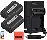 Big Mike'S Pack Of 2 Np-Fh50 Batteries + Battery Charger For Sony Alpha Dslr A230 Dslr A290 Dslr A330 Dslr A380 Dslr A390 Digital Slr Camera + More!!