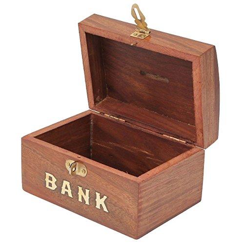 Craft art india brown handmade wooden rectangular money for Handmade coin bank